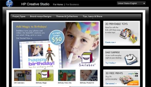 "ajellebean's ""birthday boy postcard"" design featured on HP landing page"